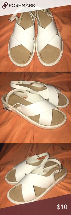 White retro sandals Super cute, I love these so much!!! The have a few marks on them but I've never tried to wash off so they may be removable.. overall though in great condition.. says size 10 but I feel it would best fit a 9 1/2 as that is my size and they fit perfect ✨ Love Culture Shoes Sandals