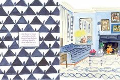 beautiful watercolor illustrations of room and objects by Virginia Johnson
