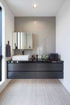 Powder Room Design, Washroom, Bathroom Organization, Double Vanity, New Homes, House Design, Mirror, Interior, Furniture