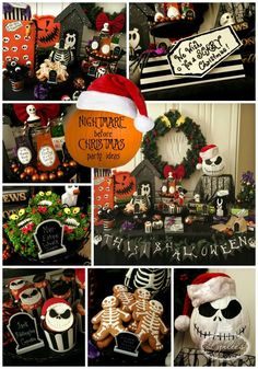 Nightmare before Christmas party ideas. I love the man eating wreath treats!