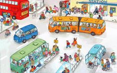 TOUCH this image: Praatplaat: het busstation by Lisanne Eal Resources, Spanish Practice, French Cartoons, Writing Pictures, Detail Art, I School, Toddler Preschool, Teaching English, School Design
