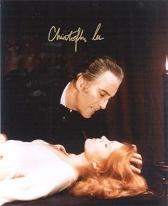 Christopher Lee as Dracula. Are you sure he wants only her blood? Not anything else? From the looks of him, I would say.....Well I guess that's why Christopher Lee was such a successful Dracula