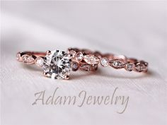 Discount!! Brilliant 6.5mm Moissanite Ring Set Engagement Ring Solid 14K Rose Gold