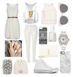 """""""White"""" by jhanny21 ❤ liked on Polyvore featuring Converse, Yves Saint Laurent, River Island, CellPowerCases, Uncommon, Blanc & Eclare, Want Les Essentiels de la Vie, Rolex, Mark Broumand and Essie"""