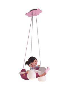 HAPPY PLANE Redo - závesné detské svietidlo- ružové lietadlo