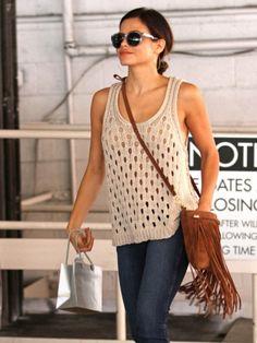 Fringed brown leather crossbody bag inspired by Jenna Dewan-Tatum #accessories #purse