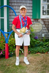 """""""I understand that the fellow that I'm playing today is only 94 years old, so I'm playing a youngster again. It's hard to find 100 year old tennis players around the country and, if there are any, they don't show up very much. I'd like to meet one one of these days."""""""