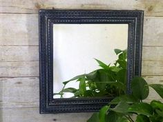Decorative Wall Mirror...Country Chic..Vintage Black Painted..Distressed Wall Art #homedecor #homeaccents #vintageblack #wallmirror #walldecor #countrychic #chalkpaint