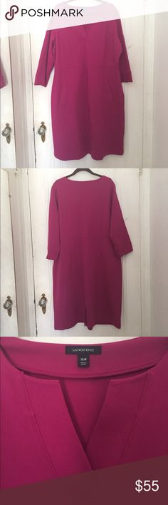"""Fabulous Fuchsia Land's End Ponte Dress NWOT Land's End structured Ponte dress with many great features. Vneck line, notched 3/4 sleeves, kick pleat, invisible right side zipper and POCKETS! Bust 23"""", waist 20"""", length 40 1/2"""". I have this in black too and it is my go to dress when I'm in a rush. I've never worn in so it is new without tags. A great classic piece, I throw my black one in the wash and line dry and it still looks brand new. Very forgiving, flattering and comfortable. I'm a…"""