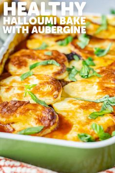 This healthy tomato and halloumi bake with aubergine is the perfect way to use this flavourful cheese for a delicious vegetarian recipe. Vegetarian Dinners, Vegetarian Recipes Easy, Vegetable Recipes, Vegetarian Appetizers, Vegan Meals, Vegetarian Bake, Healthy Recipes, Veg Dishes, Vegetable Dishes