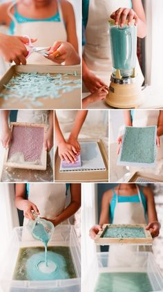 DIY Hand Made Paper    I just did this using paper from my shredder & lint from the dryer (clothing fibers). It came out great! Now I can scrapbook and make my own cards without spending extra money on paper. You can add glitter, liquid starch to prevent the ink from bleeding on the paper, die& dried herbs for fragrance/color etc. Have fun!