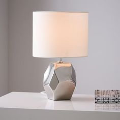 Ceramic Nature Geo Table Lamp - Silver #westelm