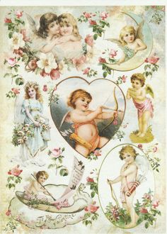 Rice Paper for Decoupage Decopatch Scrapbook Craft Sheet Vintage Shabby Angels