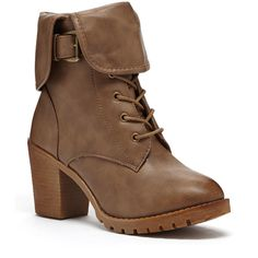 Bucco Stone Lakene Ankle Boot featuring polyvore, fashion, shoes, boots, ankle booties, ankle boots, lace up bootie, wide booties, lace up ankle boots and lace-up ankle booties