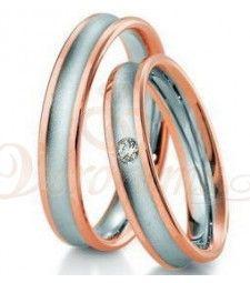 Βέρες γάμου δίχρωμες με διαμάντι Breuning 4179-4180