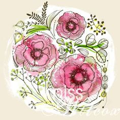Flower illustration - Melissa Wilcox. this would be pretty as part of a tattoo