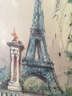 Vintage Signed Marius Girard Watercolor Lithograph Eiffel Tower Paris France Gold Gilt Frame Mid Century Mad Men Decor Print Painting.