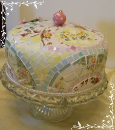 This looks good enough to eat!! Handmade Broken China Plate Rims Mosaic Cake Dome made of vintage china tiles