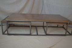 Wood and Metal Nesting Coffee Table READY TO by MetalTreeFurniture