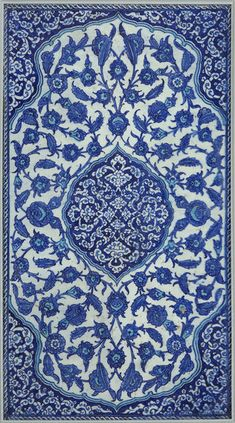 [CasaGiardino] ♡ Tile Place of origin: Iznik, Turkey, Date: century Turkish Art, Turkish Tiles, Islamic Tiles, Islamic Art, Delft, Love Blue, Blue And White, Turkish Pattern, Motifs Textiles