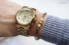 Armbänder - Armband mit Natursteinperlen & vergoldetem ... - ein Designerstück von evamariajewelry bei DaWanda