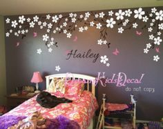 Nursery wall decal baby girl and name wall decals cherry blosssoms wall sticker wedding office-Pink vines with Butterfly Name Wall Decals, Nursery Wall Decals, Wall Sticker, Nursery Decor, Bedroom Decor, Wall Decor, Bedroom Wall Designs, Wall Art Designs, Baby Bedroom