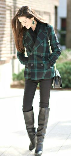 Green and black plaid peacoat with black skinny jeans, classic black riding boots, Rebecca Minkoff crossbody handbag, and black Kendra Scott Alexandra earrings. Simple winter outfit idea for casual to dressy casual occasions | Weathering the Florida Winter: Old Navy Black Plaid Peacoat by fashion blogger Stephanie Ziajka from Diary of a Debutante