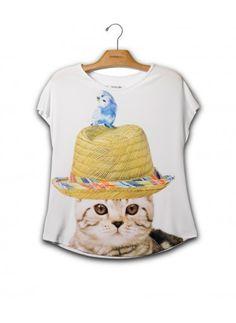 Camiseta Evasê Gato Chapéu, escolha a sua em http://loja.jeffersonkulig.com.br/