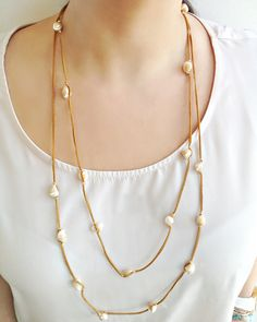 Leather and Pearl . leather necklace by AlmaHandmadeAccs on Etsy, $38.00