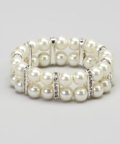 Pearl & Crystal Double Layer Stretch Bracelet