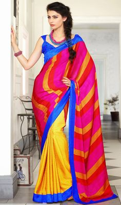 Classy Multicolor Chiffon and Satin Saree Price: Usa Dollar $66, British UK Pound £39, Euro48, Canada CA$71 , Indian Rs3564.