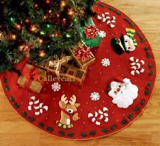 "Bucilla Santa & Friends ~ 43"" Felt Christmas Tree Skirt Kit 86023 Rudolph Frosty"