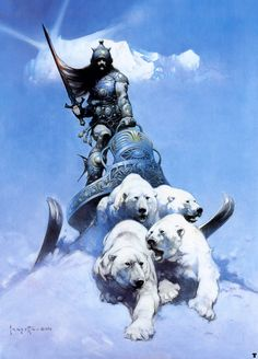 The Silver Warrior (1972) by Frank Frazetta    Frazetta gives life to animals and not jsut humans. Here we can see the muscular polar bears moving forward pulling the heavy sleigh behind them. (museumsyndicate, 2012)