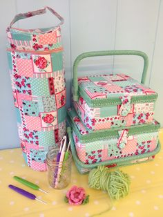 Love these sewing boxes and wool holder Sewing Box, Vintage Inspired, Cotton Fabric, Lunch Box, Boxes, Stripes, Wool, My Style, Floral