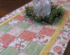 Quilted Table Runner in beautiful pink and by WarmandCozyQuilts