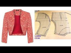 In this tutorial I showed how to draft (pattern drafting), a bolero jacket and I further showed how to sew a neatly finished. Bodice Pattern, Jacket Pattern, Bolero Pattern, Jumpsuit Pattern, Dress Sewing Patterns, Clothing Patterns, Churidar Neck Designs, Stitching Dresses, Bolero Jacket