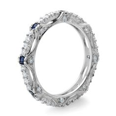 1.10 Carat Blue Sapphire and Diamond Ring in 18K White Gold - Size 7 - Diamond Rings - Rings