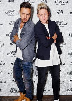 Liam Payne and Niall Horan of One Direction attend the private launch of David Beckham For H&M Swimwear at Shoreditch House on May 14, 2014 in London, England.