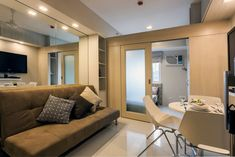 Entire home/apt in Manila, Philippines. Modern, minimalist condominium offers a contemporary atmosphere where functionality meets design. Centrally & conveniently located on top of a mall. Condo Interior Design, Small Apartment Interior, Small Apartment Design, Condo Design, Studio Interior, Small Apartments, Apartment Ideas, Studio Apartments, Studio Design