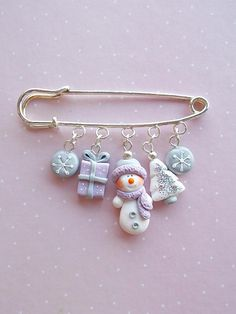 Christmas Brooch Xmas Jewelry Secret Santa Pin Snowman