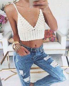 crochet top + ripped jeans