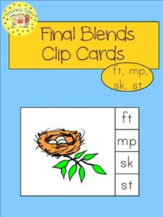 These cards are a terrific Hands-On Activity your kiddos will love!  Final Blends Clip Cards allow learners to practice final consonant blends. On each card is a picture and three (or four) blend choices. Learners say the picture name and clip a clothespin to the correct corresponding blend choice. This set of 18 cards provides practice for ft, mp, sk, and st.