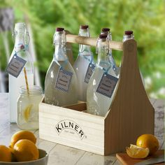 Porte-bouteille (6 bouteilles) en bois blond Kilner