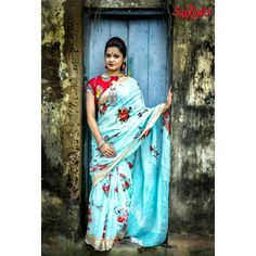 Explore our linen collection which is easy to drape, versatile and very wearable!🌺🌺🌺 Whats app Park… Sky Blue Saree, Sari, Explore, Beautiful, Collection, Instagram, Summer, Fashion, Moda
