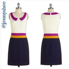 """{modcloth} colorblocked dress w/ collar Adorable dress with a color blocked waist and a faux collar from Modcloth   Perfect for work paired with a cardigan and high heel oxfords.   Polyester. Shell fabric does not provide stretch but the lining does. Machine washable. Fully lined with a hidden back zip.  Length is 35"""" Gently worn Size small ModCloth Dresses"""