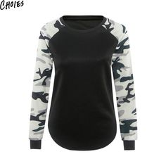 7cfb398cf4ea5 Women Black Camo Patchwork Paneled O Neck Long Sleeve Sweatshirt Casual  Hoodies 2016 New Fashion Slim Brief Plus Size Clothing