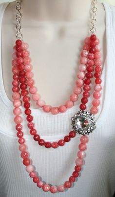 Long Statement Necklace Twisted Black Beads Gold and Coral Strands Bridal Pearl Necklace Vintage Pearl /& Coral Necklace