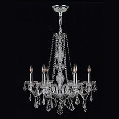 "View the Worldwide Lighting W83105C24-CL Provence 6 Light 1 Tier 24"" Chrome Chandelier with Clear Crystals at LightingDirect.com."