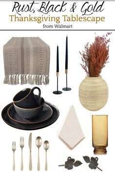 5 Thanksgiving table decorating mood boards using a variety of color schemes with inexpensive items from Walmart.