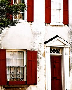 Charleston Photography - Southern Architecture Print - Red and White Decor Brick Garnet Red - Door Windows Photo South Carolina Wall Transom Windows, Windows And Doors, Red Doors, Windows Decor, Red Windows, Front Doors, Red Shutters, Southern Architecture, House Architecture